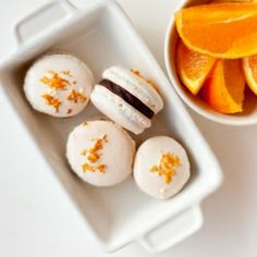 Delicate French meringue macarons filled with chocolate orange ganache