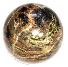 "Agate Ball 03 Big Picture Crystal Sphere Blue Black Stone Self Esteem Healing 4"""