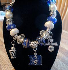 Duke Blue Devils - European Charm Bracelet - NCAA, Basketball on Etsy, $19.99