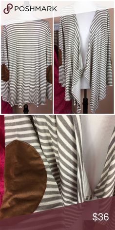 """LOWBALL SALE 🚨ALERT🚨 LOWBALL SALE ALERT!! Add whatever you like to your bundle and shoot me an offer!  Chances are, I'll take it. No discounts for bundles during this sale, but lowball offers will be considered and/or counter offered with lowest price. LOWBALL SALE lasts until the ponies run on 🐎DERBY DAY!🐎  PLUS Olive striped open draped cardigan sweater sueded elbow patches 83% rayon, 13% poly, 4% spandex, textured. New, no tags  2X, B 24"""" across, 31-36"""" L 3X, B 25"""" across, 31-36"""" L…"""