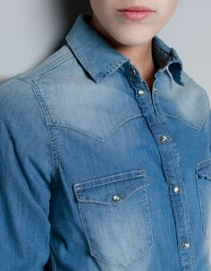 MEDIUM BLUE DENIM SHIRT - Shirts - Woman - ZARA United Kingdom