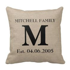 Rustic Monogram Pillow with Personalized Date&Name for Wedding Gift - Wedding Look