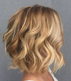 Curly Caramel Blonde Bob