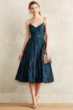 Tracy Reese Glinted Taffeta Midi Dress #anthrofave #anthropologie
