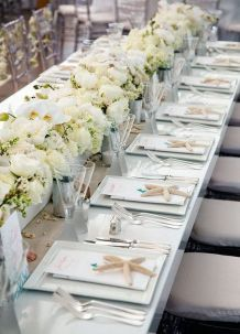 Beach Wedding Table Starfish Settings are perfect for your florida beach wedding reception. Low Wedding Centerpieces, Beach Wedding Tables, Beach Wedding Bouquets, Beach Wedding Colors, Beach Wedding Reception, Beach Wedding Decorations, Wedding Chairs, Wedding Ideas, Beach Weddings