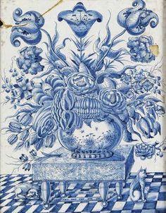 A Dutch Delft Blue and White Plaque (18th century)