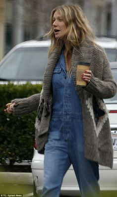 Low key and make-up free: Gwyneth Paltrow plumped for a natural look as she and beau Brad Falchuk headed out for coffee in Calabasas, California on Sunday