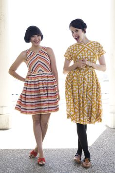 A wardrobe of colorful, patterned dresses like this is a sewing goal. These two ladies are so cute.