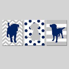 Puppy Dog Trio Baby Boy Nursery Decor Art Puppies Dogs  by Tessyla