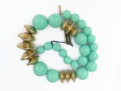 """Lucite Choker Necklace, Vintage LRG Turquoise & Gold Metallic Disc Genuine Choker Necklace 15.75"""""""