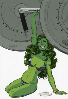 She-Hulk by John Byrne ----- I personally find this artwork aesthetically pleasing because of the detailed anatomical accuracy, the colour choice, the tones, and crisp linework. Marvel Dc Comics, Bd Comics, Comics Girls, Marvel Art, Marvel Heroes, Rogue Comics, Hulk Marvel, Ms Marvel, Captain Marvel