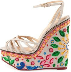 Charlotte Olympia 'Celebration Meredith' Embroidered-Wedge Sandal