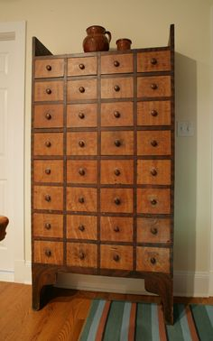Grain Painted and Decorated Thirty-Two Drawer Apothecary Chest