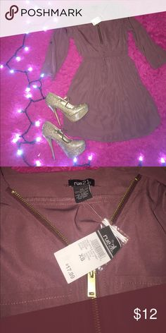 Light burgundy dress Brand new and super cute! Cute zipper and tie detail! Can be dressed up or down! Make offers and bundle for discounts 💕 Rue 21 Dresses