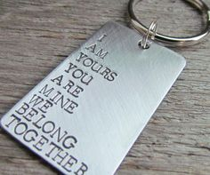 Couples Key Chain Keychain Hand Stamped Brushed by AlwaysAMemory