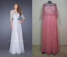 This lace and chiffon gown would make a beautiful bridesmaids, mother of the bride or prom dress.  The plus size La Femme® replica shown here in mauve is for our beautiful maid of honor. (replica La Femme® 19137)