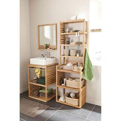 meuble sous vasque natural imitation bambou 60x50cm vasque edge - Meuble Vasque Salle De Bain 50 Cm Nature