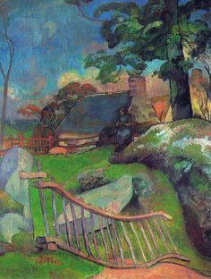 by Paul Gauguin in oil on canvas, done in . Now in a private collection. Find a fine art print of this Paul Gauguin painting. Paul Gauguin, Kandinsky, Henri Matisse, Vincent Van Gogh, Landscape Art, Landscape Paintings, Impressionist Artists, Claude Monet, Art Gallery