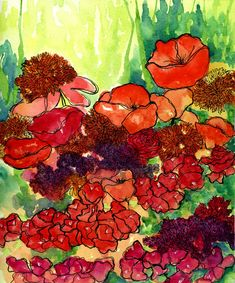 Original Vibrant Abstract Floral Watercolor Painting