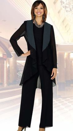 Ben Marc Misty Lane Black 3pc Evening Pantsuit