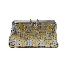 Chanel  CC Silver/Gold Metallic Leather  Clutch Handbag   From a collection of rare vintage handbags and purses at http://www.1stdibs.com/fashion/accessories/handbags-purses/