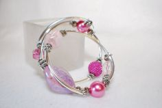 Beautiful Pink and Silver memory wire by TheMajesticElephant, $23.00