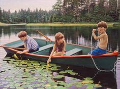 Pinturas En la Naturaleza. La artista canadiense Danielle Richard pinta un mundo de belleza femenino. En sus cuadros muestran mujeres disfrutando de la naturaleza en distintos escenarios