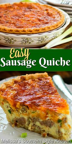 These Easy Sausage Quiche turns pantry staples into an any-time-of-day quiche feast #sausagequiche #quicherecipes #easysausagequiche #bestquicherecipes #brunch #breakfast #holidaybrunch #christmasbrunch #easyrecipes #dinner #southernfood #eggs #sausage #porkrecipes #southernrecipes