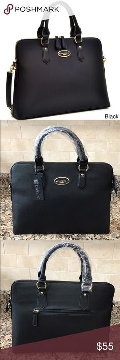 "Classy Black Satchel w/ Removable Shoulder Strap Classy Black Handbag Vegan leather black satchel All black purse with gold zipper and gold hardware Brand new with tags Comes with adjustable (removable) shoulder strap  11""  upward height by 15"" horizontal width Bags Satchels"