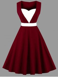 Vintage Dressing Plus Size Vintage Sweetheart Dress - WINE RED - Fashion Clothing Site with greatest number of Latest casual style Dresses as well as other categories such as men, kids, swimwear at a affordable price. Plus Size Vintage Dresses, Vintage Dresses Online, Party Dresses Online, Plus Size Dresses, Plus Size Outfits, Dress Online, Midi Flare Dress, Vestidos Vintage, Sweetheart Dress