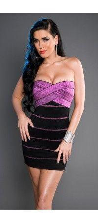 Elegant black-purple mini dress with lurex