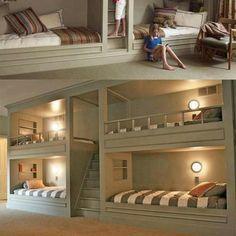 Basement built in bunk beds-- great for kid sleep overs
