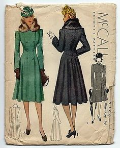 1930s Vintage Sewing Pattern McCall 3426 Peacoat Coat Fitted Fur Collar Art Deco | eBay