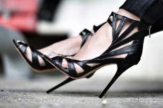 Jimmy Choo For H&M Limited Edition Black Leather Stilettos Size 38 Stilettos, Schnür Heels, Sexy Heels, Stiletto Heels, Black Heels, Strappy Heels, Gold Heels, Black Sandals, Sexy Sandals