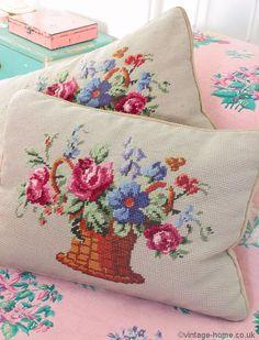 Vintage Home Shop - Pretty Victorian Rose Basket Woolwork Cushions: www.vintage-home.co.uk