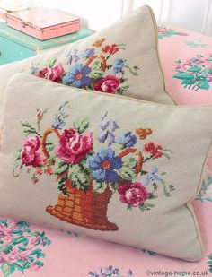 Vintage Home Shop - Pretty Victorian Rose Basket Woolwork Cushions: www.vintage-home.co.uk