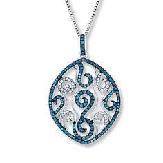 Blue Diamond Necklace 1 1/8 ct tw Round-Cut 14K White Gold- Kay Jewelers