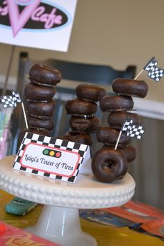 Car's Birthday Party - Luigi's Tower of Tires - Chocolate Donuts