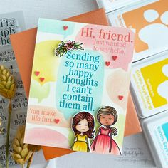 SSS_OctCardKit_IG1 Just Friends, Cards For Friends, Friend Cards, Spectrum Noir Markers, Sending Hugs, Friendship Cards, Ink Stamps, Simon Says Stamp, Card Kit