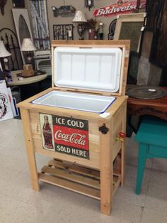 Rustic Stuff coolers built with pallet wood or cedar. Bottle opener and working spigot - bottom shelf - great piece for your deck or porch. Fun for all occasions ! Pallet Cooler, Wood Cooler, Patio Cooler, Diy Cooler, Outdoor Cooler, Cooler Stand, Cooler Box, Beer Cooler, Woodworking Plans