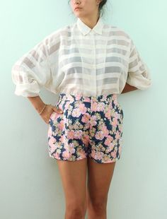 Ideal undone tailored style for summer: cuffed high waisted shorts a tied stripe button up. Description from pinterest.com. I searched for this on bing.com/images