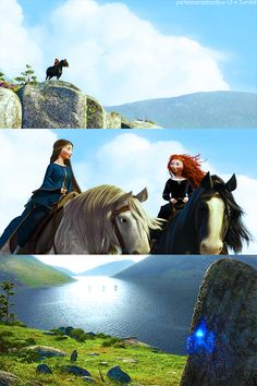 Elinor, Merida. I love how Elinor's hair is down and free. She finally understands her daughter more.