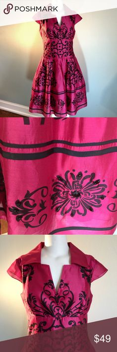 """Kay Unger Pretty Pink Party Dress In excellent condition and just dry cleaned, this adorable dress is lined and made of 82% cotton/18% silk. Back zipper. Beaded embellishments around hem all intact. Bust measures 37"""", waist 30"""", length 38."""" Dry clean. Kay Unger Dresses"""