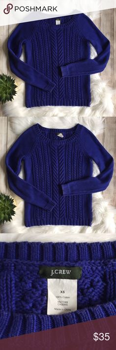 J. Crew | Cobalt Blue Cableknit Sweater J. Crew Cobalt Blue Cableknit Sweater. Super cute! Excellent condition, 100% cotton. Size XS. Bust: 16in Length: 21in. ⭐️offers welcome⭐️ J. Crew Sweaters Crew & Scoop Necks