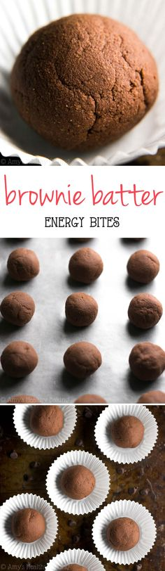Healthy Brownie Batter Energy Bites -- they taste JUST like dessert! So easy & packed with 13g+ of protein!