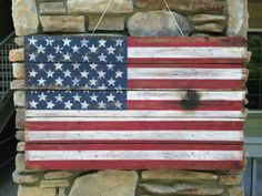 American Flag  Handmade Distressed Wooden by AmericanHandcraft, $85.00
