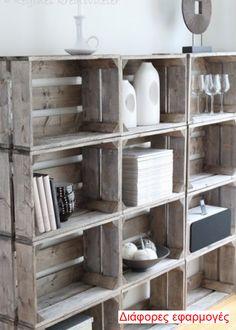 Crates. Kαφάσια - τελάρα, από παλαιωμένο ξύλο, παλέτες
