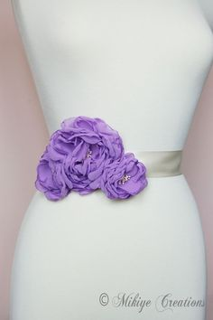 Darker shade of purple with a simple white dress  Bridal Purple Sash Accessory  Wedding by MikiyeCreations on Etsy, $48.00