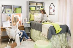 Designer Dorm Rooms! The Malia Chartreuse Collection-only at Dorm Decor. dorm-decor.com