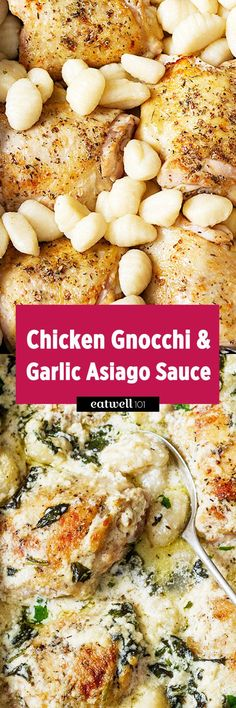 Baked Chicken Gnocchi with Garlic Asiago Cream Sauce — Eatwell101